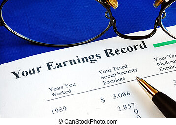 Inspect the Social Security earning report concepts of retirement pension