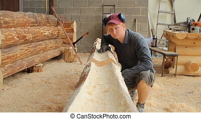 inspecte, faisceau bois, avenir, construction, travaux, home., structure, homme