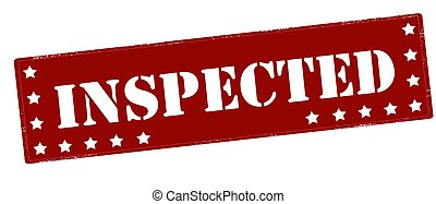 Inspected - Stamp with word inspected inside, vector...