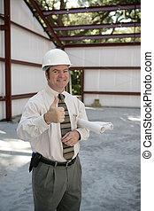 inspecteur, bouwsector, -, beduimelt omhoog