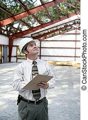 inspecteur, bouwsector, -, copyspace