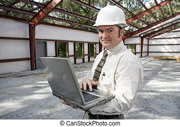 inspecteur, construction, ligne