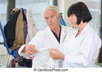 inspecteur, lessive, tissu, inspection