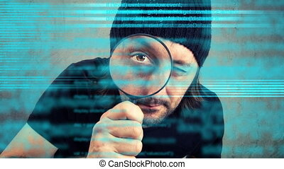 inspecting computer code - Man looking through magnifying...