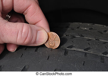 Inspecting Tire Tread Uisng a Penny - Inspecting The Wear Of...
