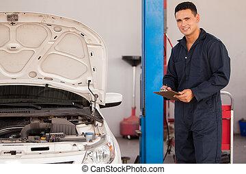 inspection, a, voiture, dans, une, auto, magasin