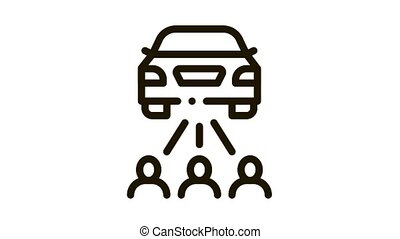 inspection by people Icon Animation. black inspection by people animated icon on white background