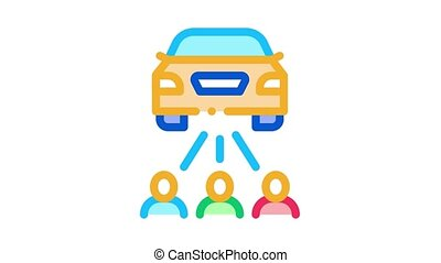 inspection by people Icon Animation. color inspection by people animated icon on white background
