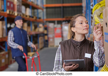 inspection, les, produits, dans, les, entrepôt