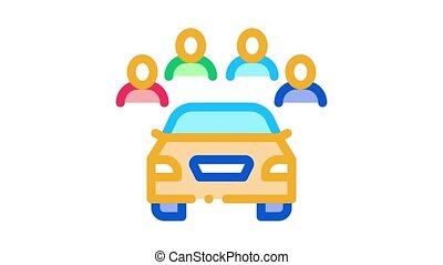 inspection of machine by group of people Icon Animation. color inspection of machine by group of people animated icon on white background