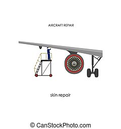 Inspection of the aircraft. Repair and maintenance aircraft. Vector illustration