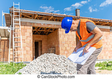 inspection of the construction project, manager on the construction.