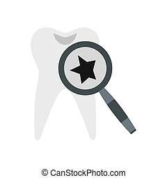 Inspection of tooth icon, flat style