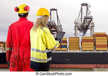 inspection, récipient bateau