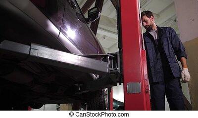 inspection, réparateur, voiture, ascenseur, après, ...