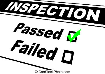 Inspection report results filled out with Passed chosen isolated on white
