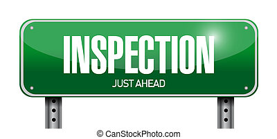 inspection road sign illustration design over a white ...