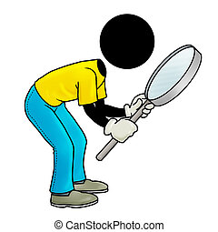 Silhouette-man looking through his magnifying glass