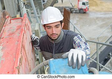 inspection, usine, ciment