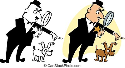 Inspector - An inspector with a magnifying glass searches ...