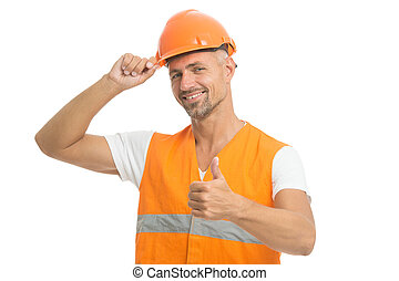 Inspector control. Architect control. Everything is under control. Safety concept. Man wear protective hard hat and uniform. Cheerful builder. Protective equipment concept. Handsome builder