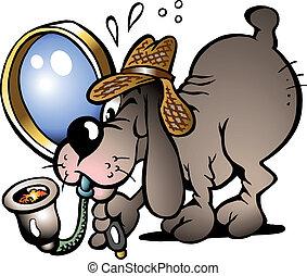 Inspector Dog - Hand-drawn Vector illustration