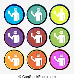 Inspector icon sign. Nine multi colored round buttons. Vector