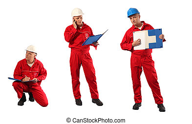 inspector in red uniform and hardhat at work - 3 poses