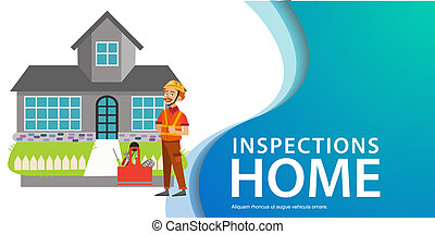 Inspector standing near house with tools poster
