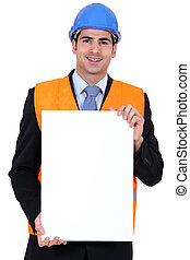 Inspector with a board left blank for your message