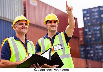 inspectores, yarda, contenedor, inspección