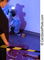 inspektion, av, den, brotts- plats