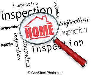 inspektion, hem, -, förstoringsglas