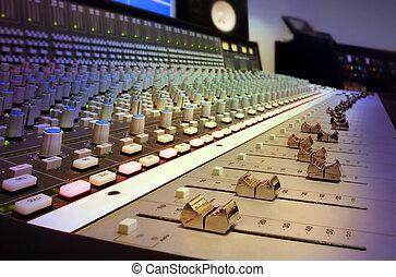 inspelning, blandande, studio, konsol