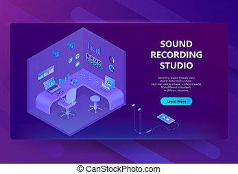 inspelning, plats, 3, ljud, studio, isometric