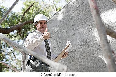 inspetor, construção, thumbsup