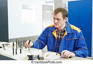 inspetor, fabricando, trabalhador, fábrica