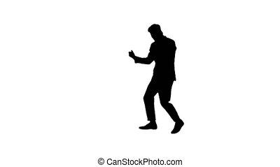 inspiré, réception, after., homme, téléphone, danse, silhouette, nouvelles, formel, bon