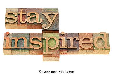 inspiré, type, letterpress, séjour