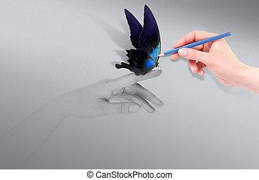 inspiração, conceito, com, bonito, borboleta