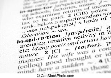 inspiração, -, dicionário, definição, de, negócio, palavra