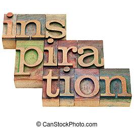 inspiração, palavra, em, letterpress, tipo