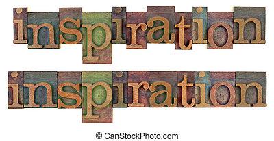inspiração, palavra, em, madeira, letterpress, tipo