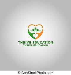 inspiración, logotipo, educación, prosperar, plantilla, diseño