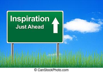 inspiración, muestra del camino, en, cielo, plano de fondo, pasto o césped, underneath.