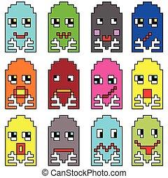 inspirado, 2, emoticons, pixelated