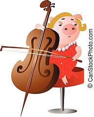 inspirado, juego, violoncelo, cerdo