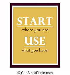 inspirador, de motivación, cartel, quote., efectos, col, marco
