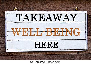 inspirador, mensaje, -, comida para llevar, bienestar, aquí