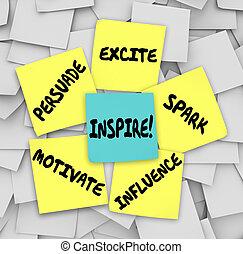 inspirar, influencia, notas, motivar, excitar, pegajoso, ...